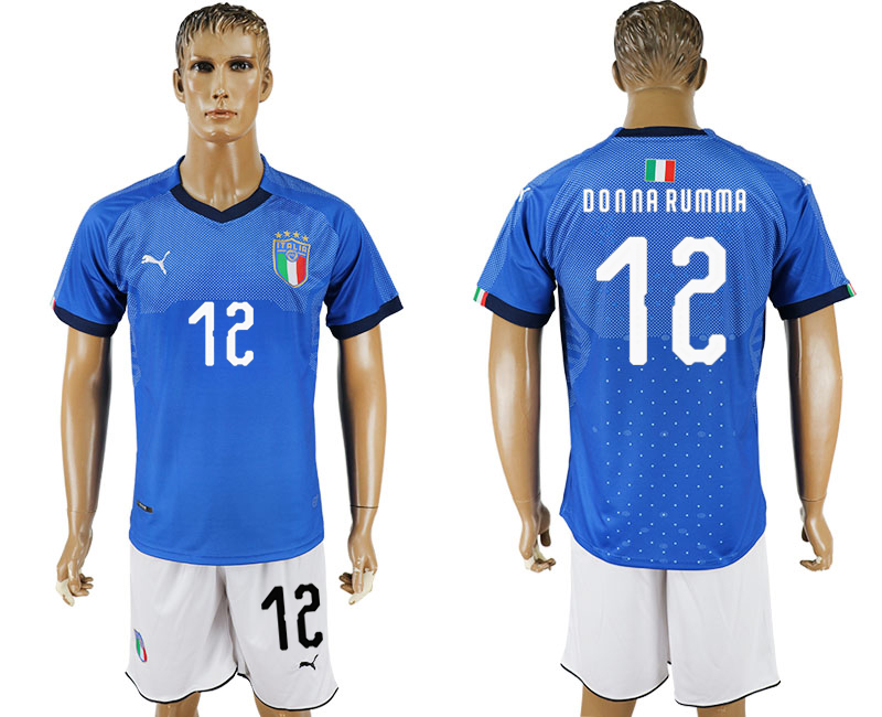 Men 2017-2018 National Italy home 12 blue soccer jersey