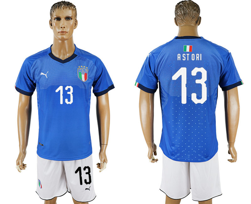 Men 2017-2018 National Italy home 13 blue soccer jersey
