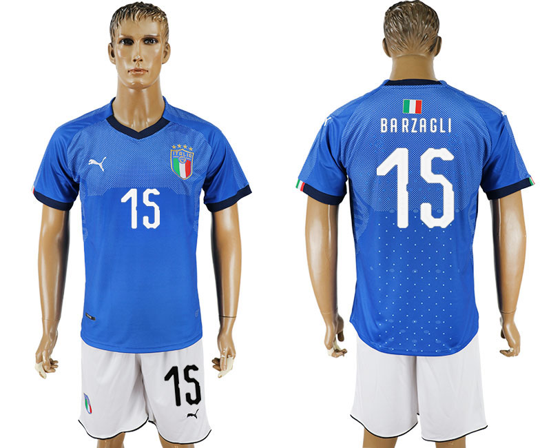 Men 2017-2018 National Italy home 15 blue soccer jersey
