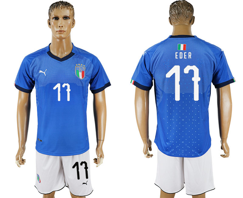 Men 2017-2018 National Italy home 17 blue soccer jersey