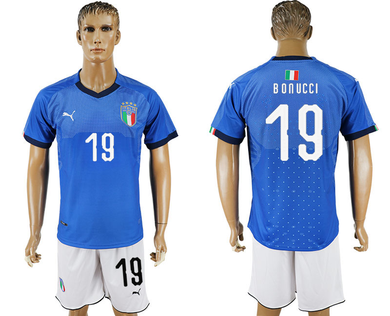 Men 2017-2018 National Italy home 19 blue soccer jersey