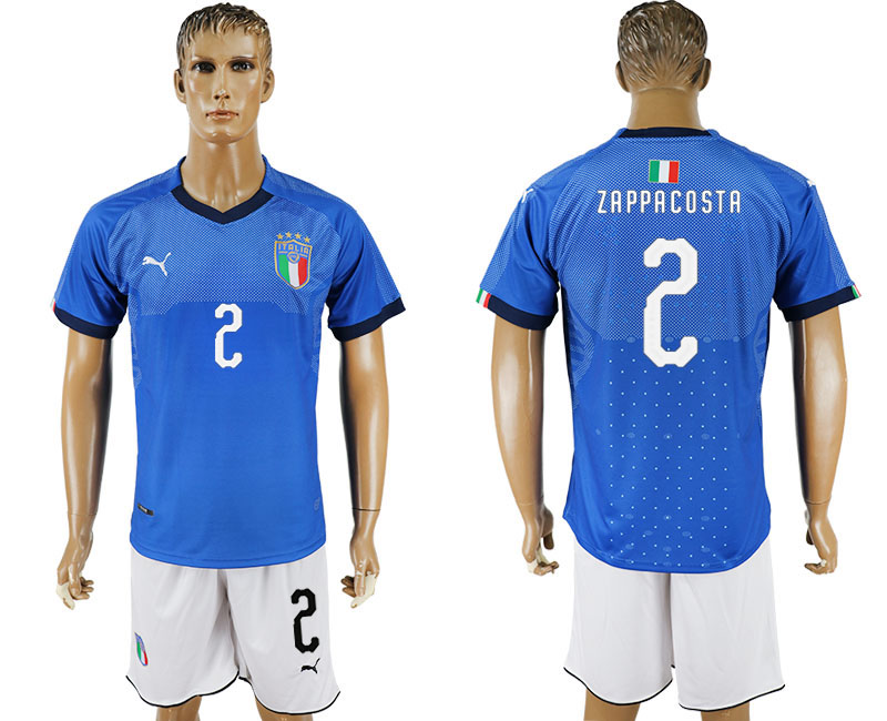 Men 2017-2018 National Italy home 2 blue soccer jersey