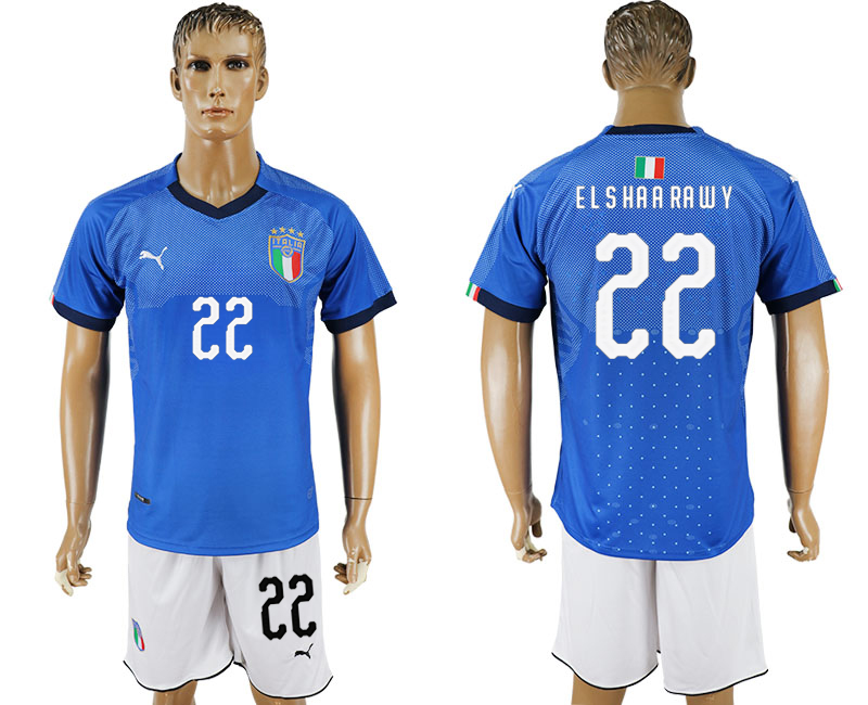 Men 2017-2018 National Italy home 22 blue soccer jersey