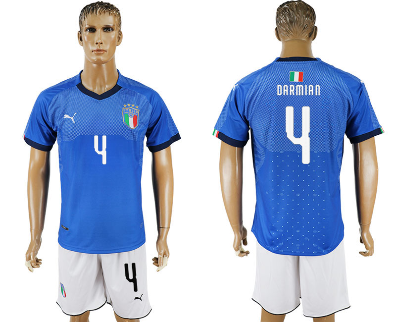 Men 2017-2018 National Italy home 4 blue soccer jersey