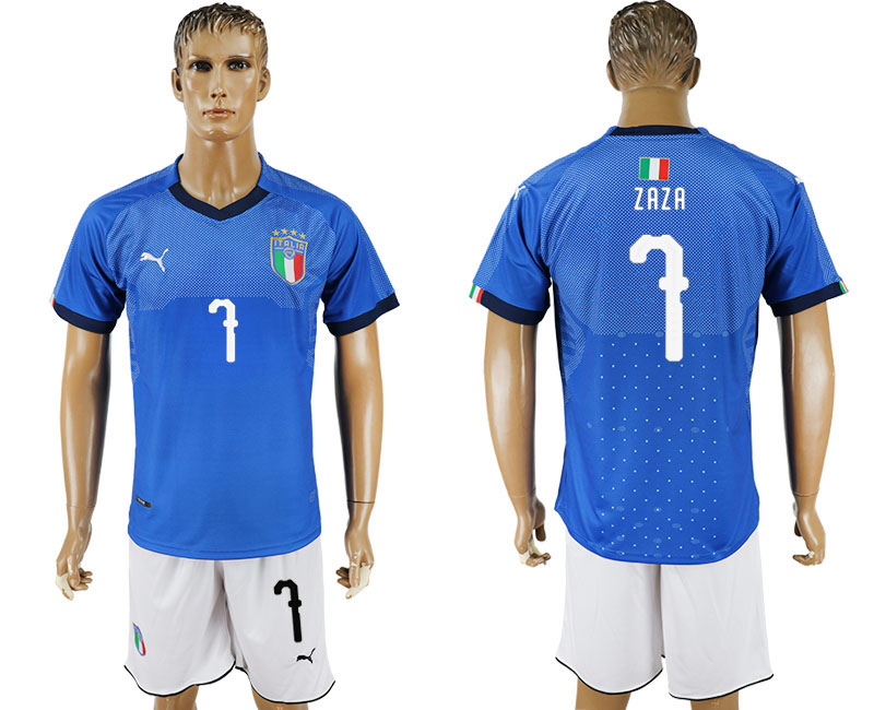 Men 2017-2018 National Italy home 7 blue soccer jersey