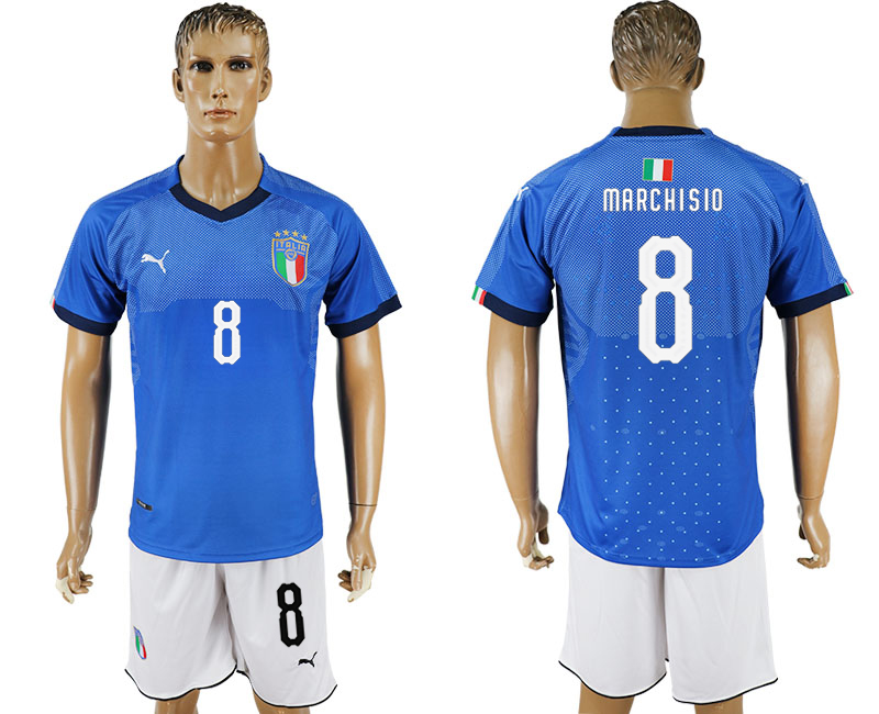 Men 2017-2018 National Italy home 8 blue soccer jersey