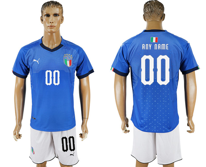 Men 2017-2018 National Italy home customized blue soccer jersey