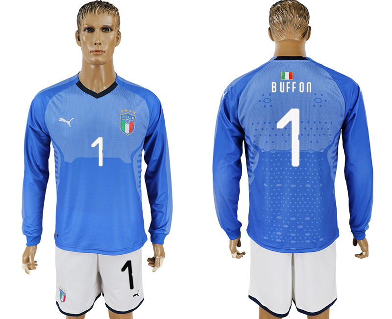 Men 2017-2018 National Italy home long sleeve 1 blue soccer jersey