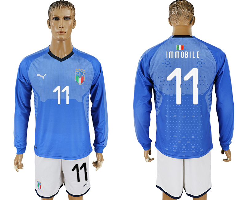 Men 2017-2018 National Italy home long sleeve 11 blue soccer jersey