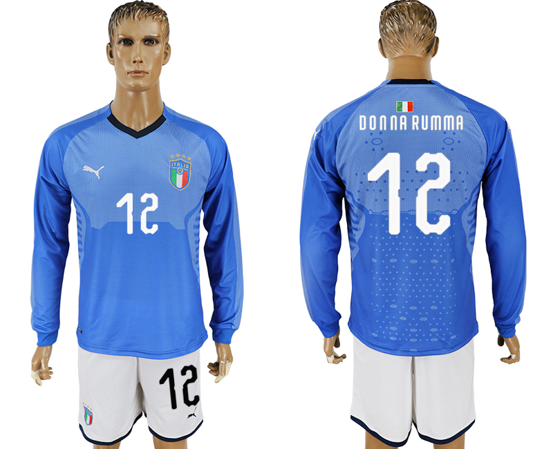 Men 2017-2018 National Italy home long sleeve 12 blue soccer jersey