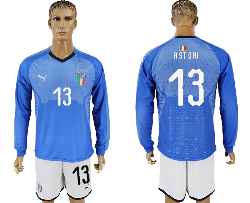 Men 2017-2018 National Italy home long sleeve 13 blue soccer jersey