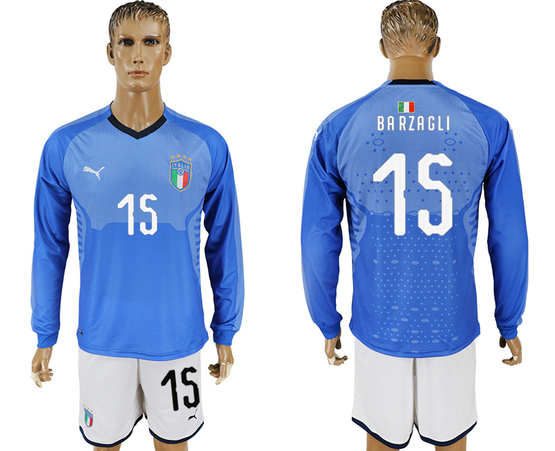 Men 2017-2018 National Italy home long sleeve 15 blue soccer jersey