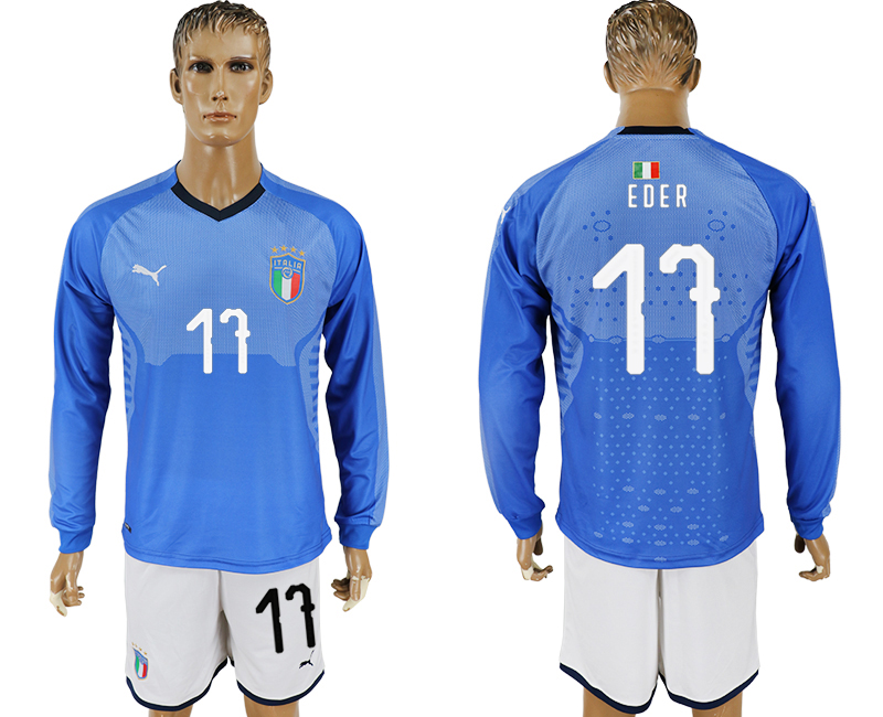 Men 2017-2018 National Italy home long sleeve 17 blue soccer jersey