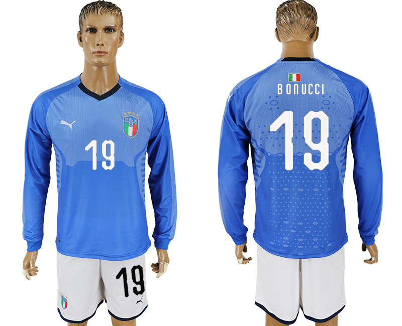 Men 2017-2018 National Italy home long sleeve 19 blue soccer jersey