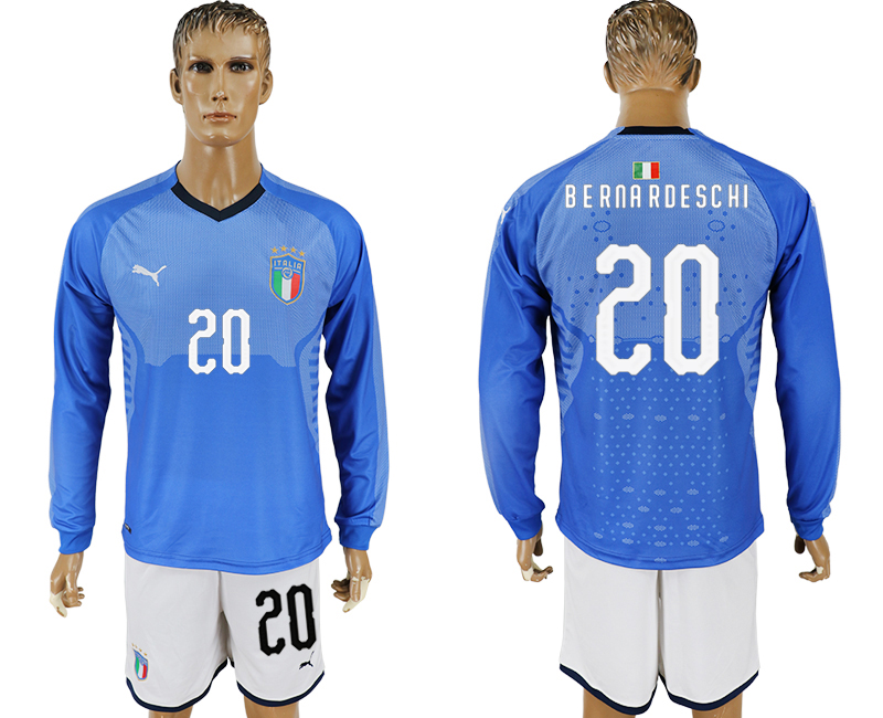 Men 2017-2018 National Italy home long sleeve 20 blue soccer jersey