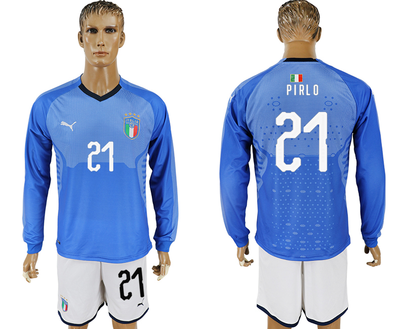 Men 2017-2018 National Italy home long sleeve 21 blue soccer jersey