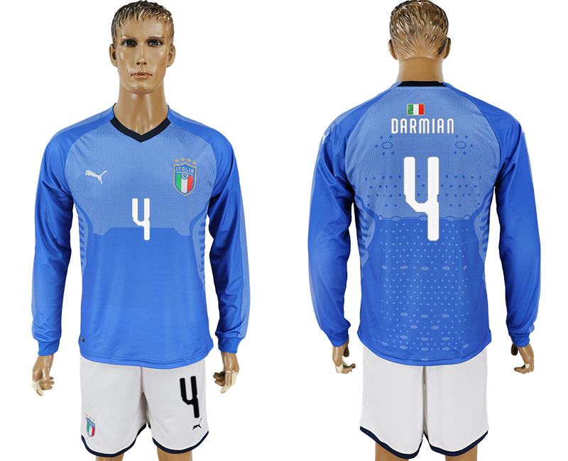 Men 2017-2018 National Italy home long sleeve 4 blue soccer jersey