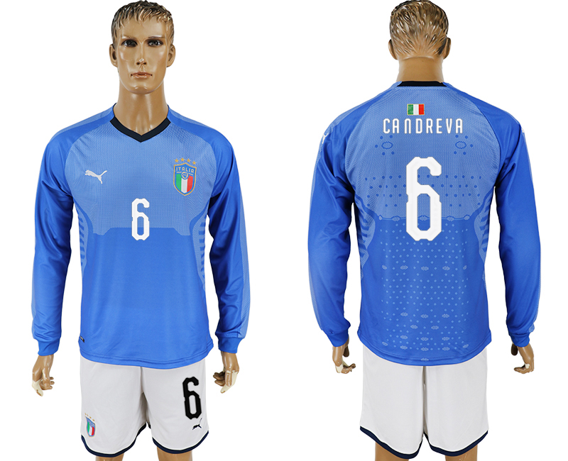 Men 2017-2018 National Italy home long sleeve 6 blue soccer jersey