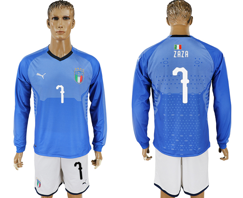 Men 2017-2018 National Italy home long sleeve 7 blue soccer jersey