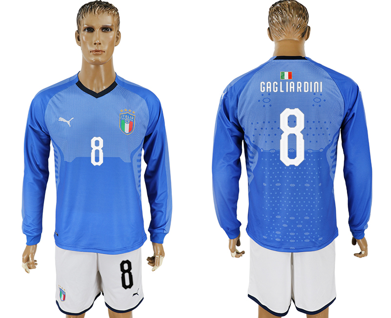 Men 2017-2018 National Italy home long sleeve 8 blue soccer jersey