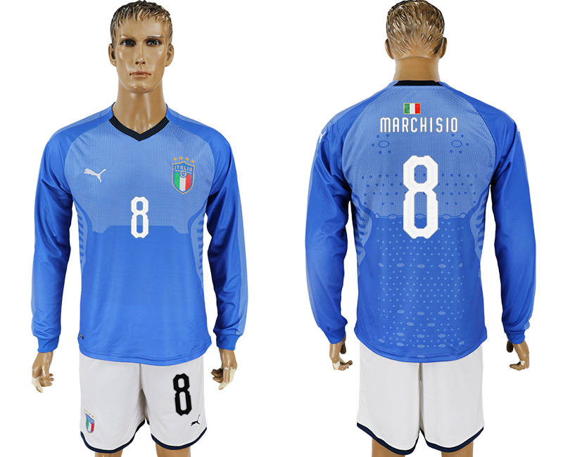 Men 2017-2018 National Italy home long sleeve 8 blue soccer jersey1