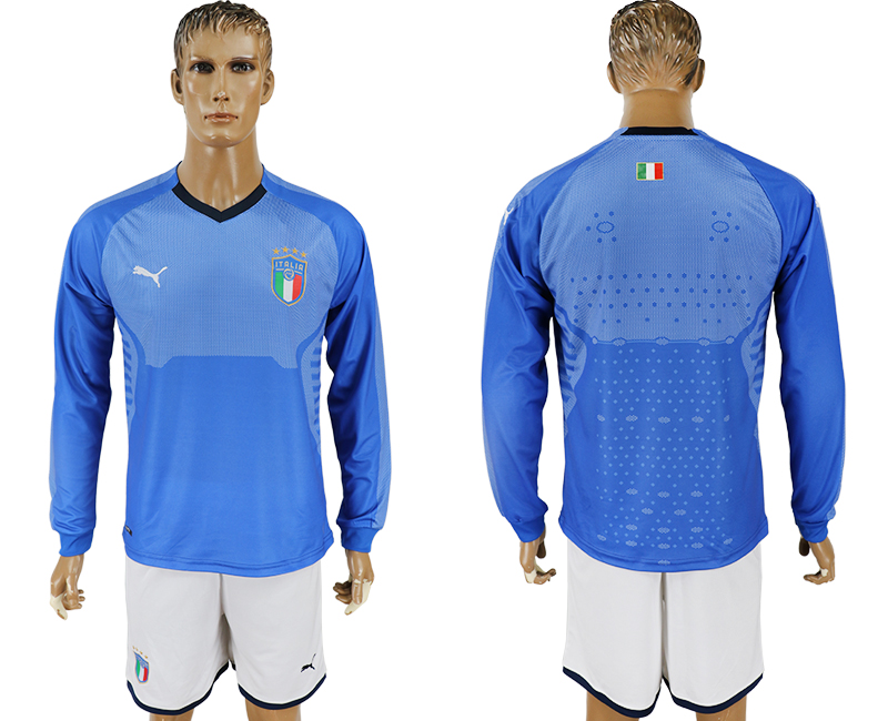 Men 2017-2018 National Italy home long sleeve blank blue soccer jersey