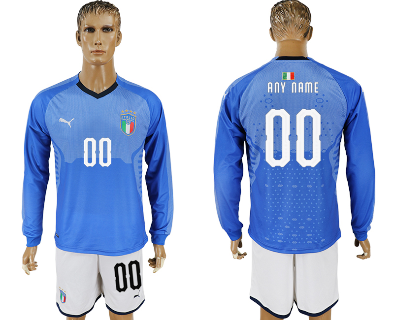 Men 2017-2018 National Italy home long sleeve customized blue soccer jersey