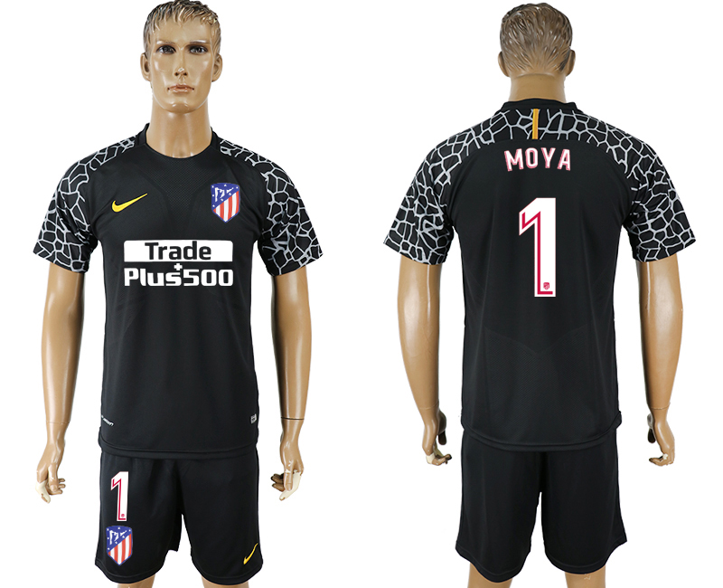 Men 2017-2018 club Atletico Madrid black goalkeeper 1 soccer jersey
