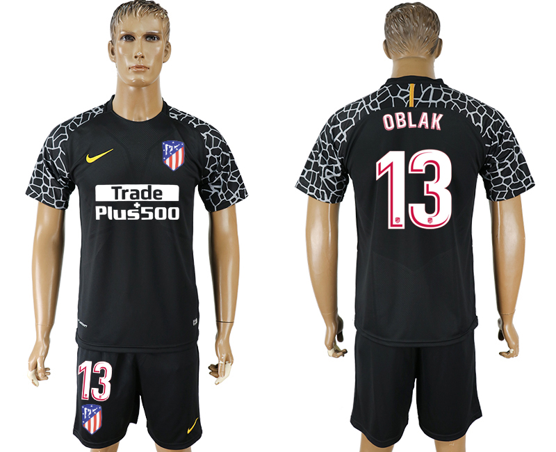 Men 2017-2018 club Atletico Madrid black goalkeeper 13 soccer jersey