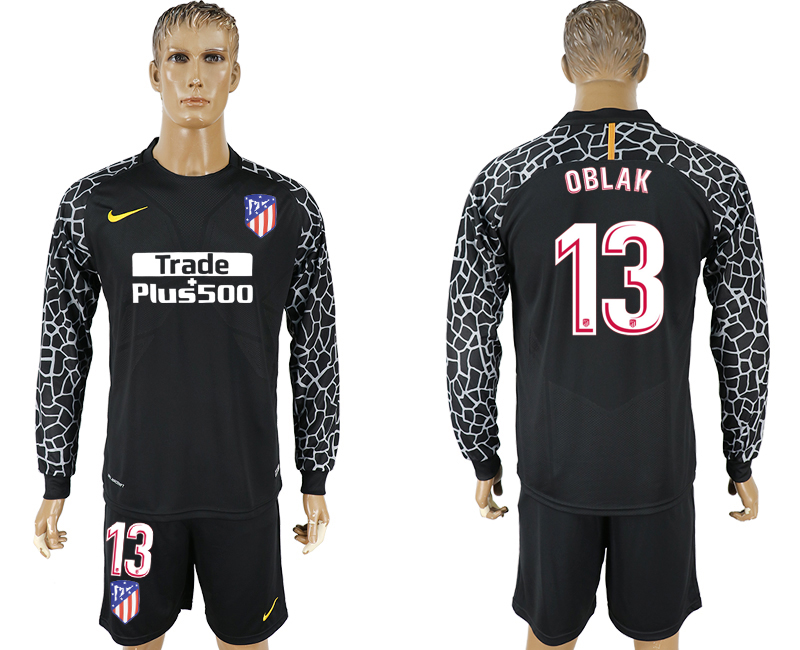 Men 2017-2018 club Atletico Madrid black goalkeeper Long sleeve 13 soccer jerseys