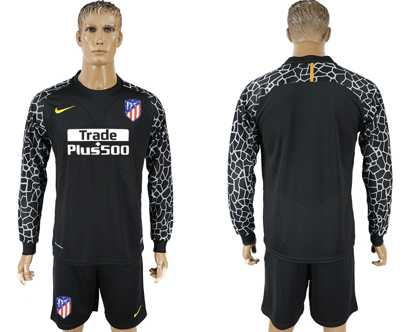 Men 2017-2018 club Atletico Madrid black goalkeeper Long sleeve soccer jerseys