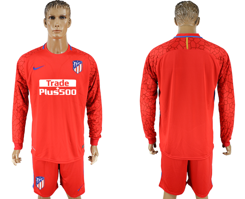 Men 2017-2018 club Atletico Madrid red goalkeeper long sleeve soccer jerseys