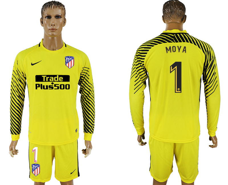 Men 2017-2018 club Atletico Madrid yellow goalkeeper long sleeve 1 soccer jerseys