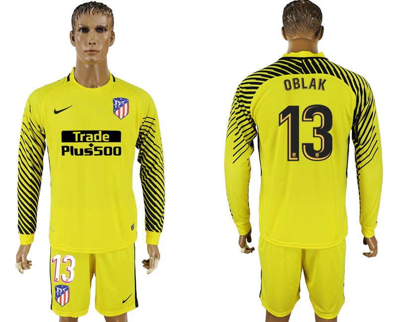 Men 2017-2018 club Atletico Madrid yellow goalkeeper long sleeve 13 soccer jerseys