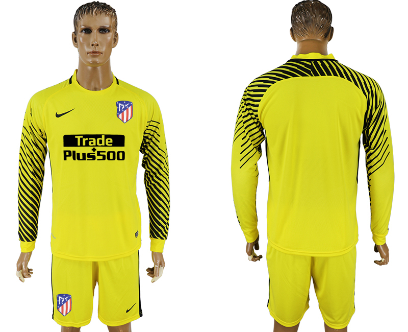 Men 2017-2018 club Atletico Madrid yellow goalkeeper long sleeve soccer jerseys