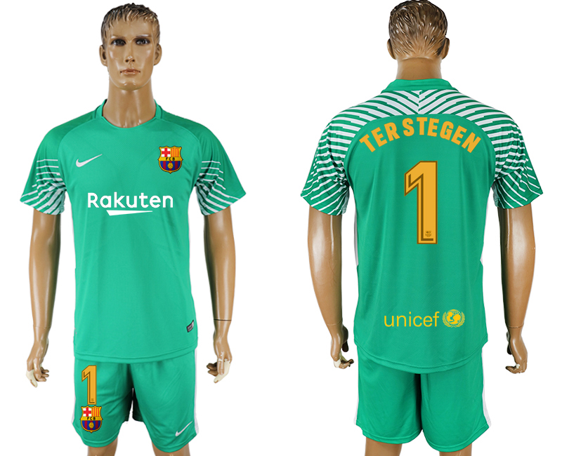 Men 2017-2018 club Barcelona green goalkeeper 1 soccer jersey