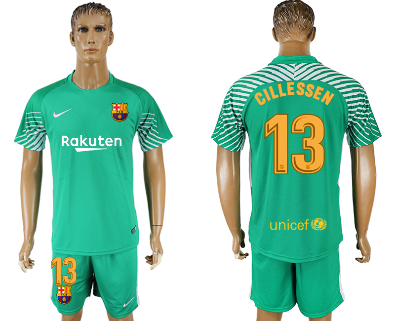 Men 2017-2018 club Barcelona green goalkeeper 13 soccer jersey