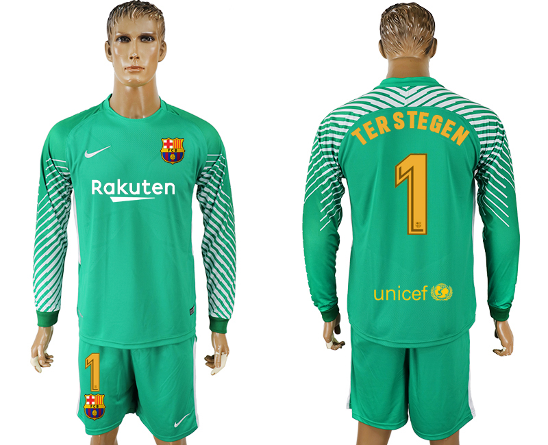 Men 2017-2018 club Barcelona green goalkeeper long sleeve 1 soccer jerseys