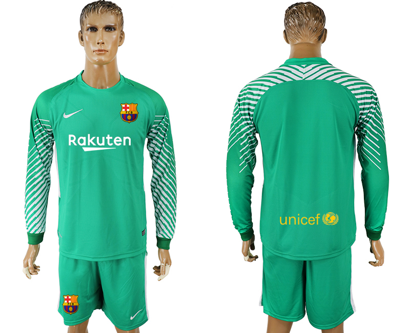 Men 2017-2018 club Barcelona green goalkeeper long sleeve soccer jerseys