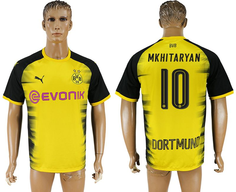 Men 2017-2018 club Borussia Dortmund 10 yellow AAA soccer jersey
