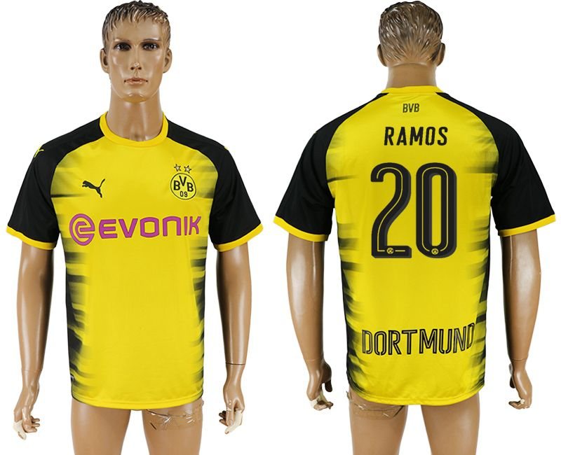 Men 2017-2018 club Borussia Dortmund 20 yellow AAA soccer jersey