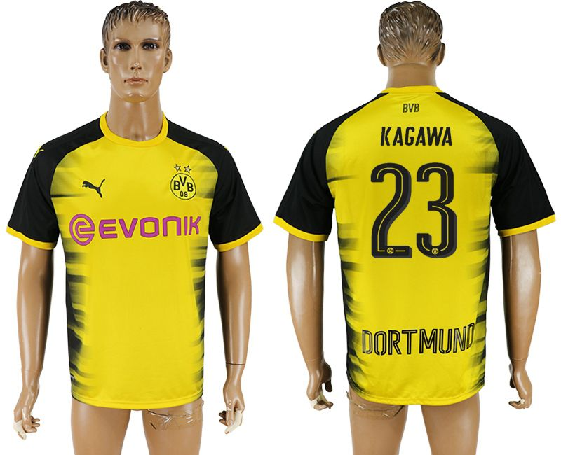 Men 2017-2018 club Borussia Dortmund 23 yellow AAA soccer jersey