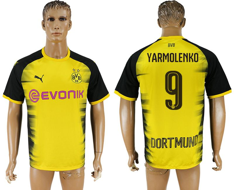 Men 2017-2018 club Borussia Dortmund 9 yellow AAA soccer jersey