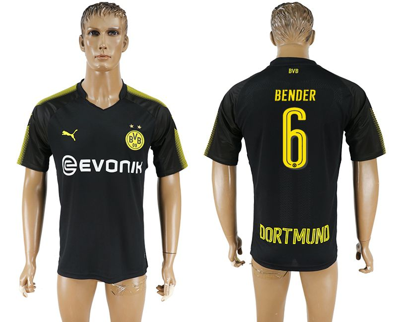 Men 2017-2018 club Borussia Dortmund away 6 black AAA soccer jersey