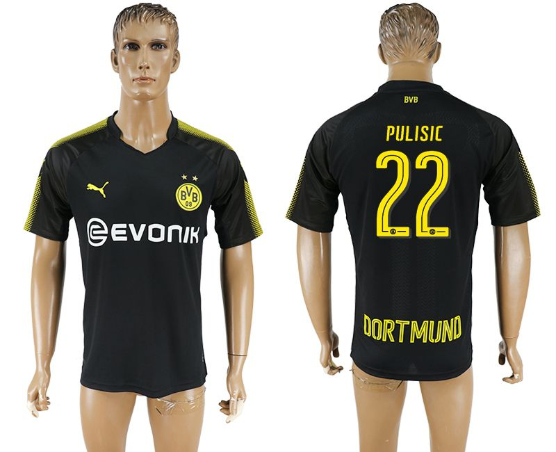 Men 2017-2018 club Borussia Dortmund away 22 black AAA soccer jersey