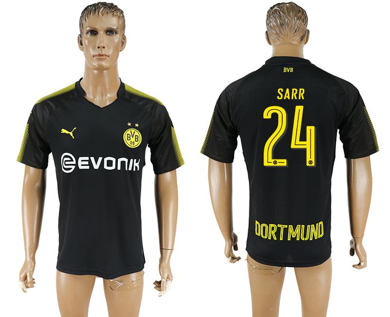 Men 2017-2018 club Borussia Dortmund away 24 black AAA soccer jersey