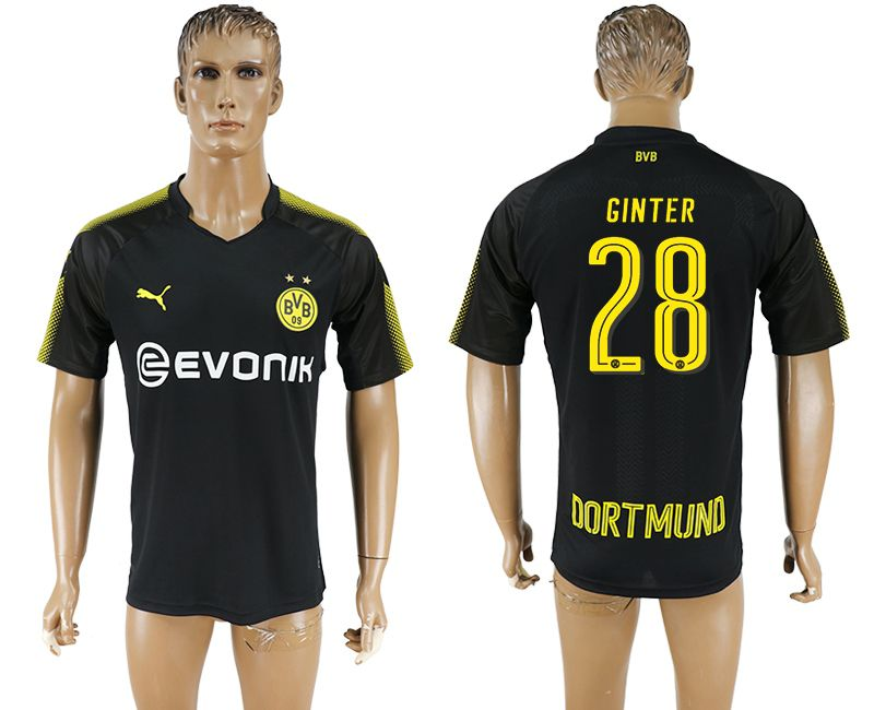 Men 2017-2018 club Borussia Dortmund away 28 black AAA soccer jersey
