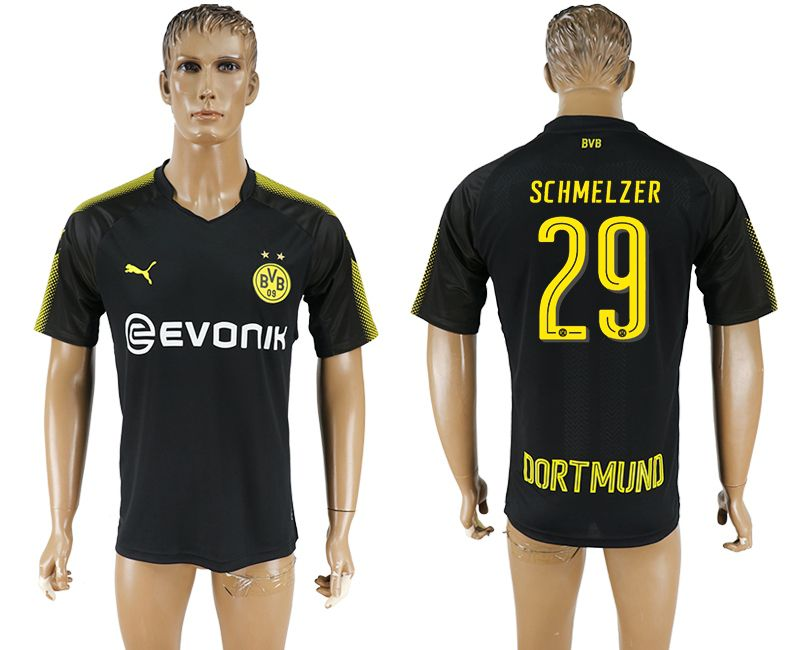 Men 2017-2018 club Borussia Dortmund away 29 black AAA soccer jersey