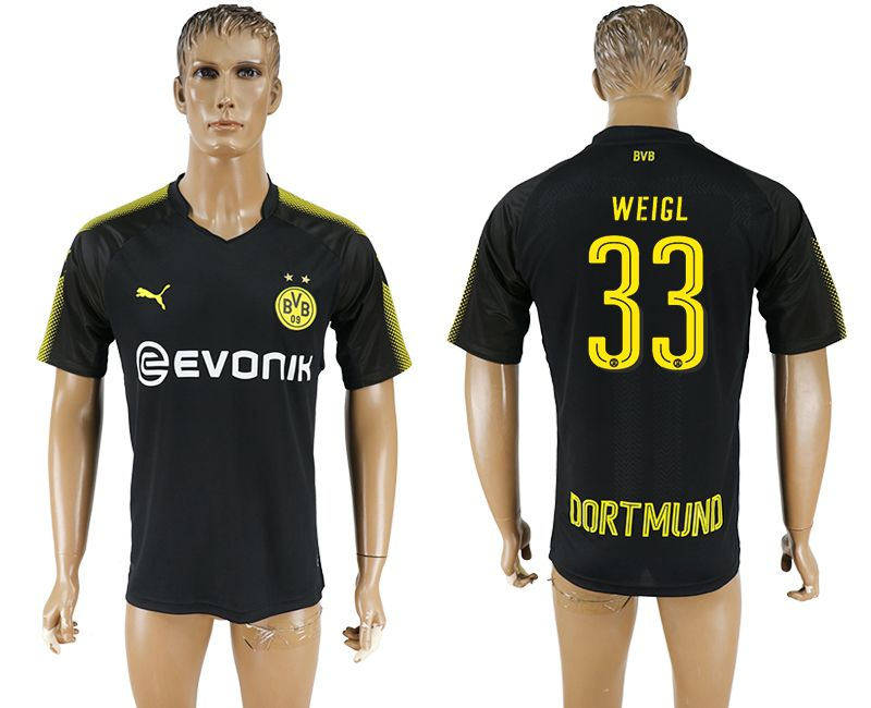 Men 2017-2018 club Borussia Dortmund away 33 black AAA soccer jersey
