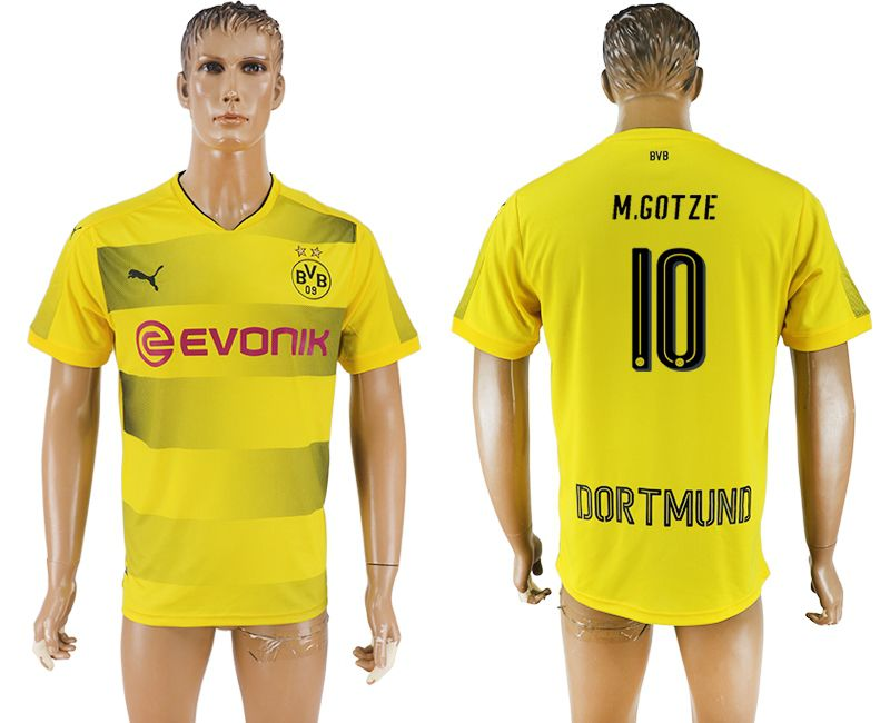 Men 2017-2018 club Borussia Dortmund home 10 AAA yellow soccer jersey